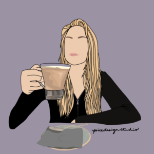 Digital Illustration of Claire drinking a latte.